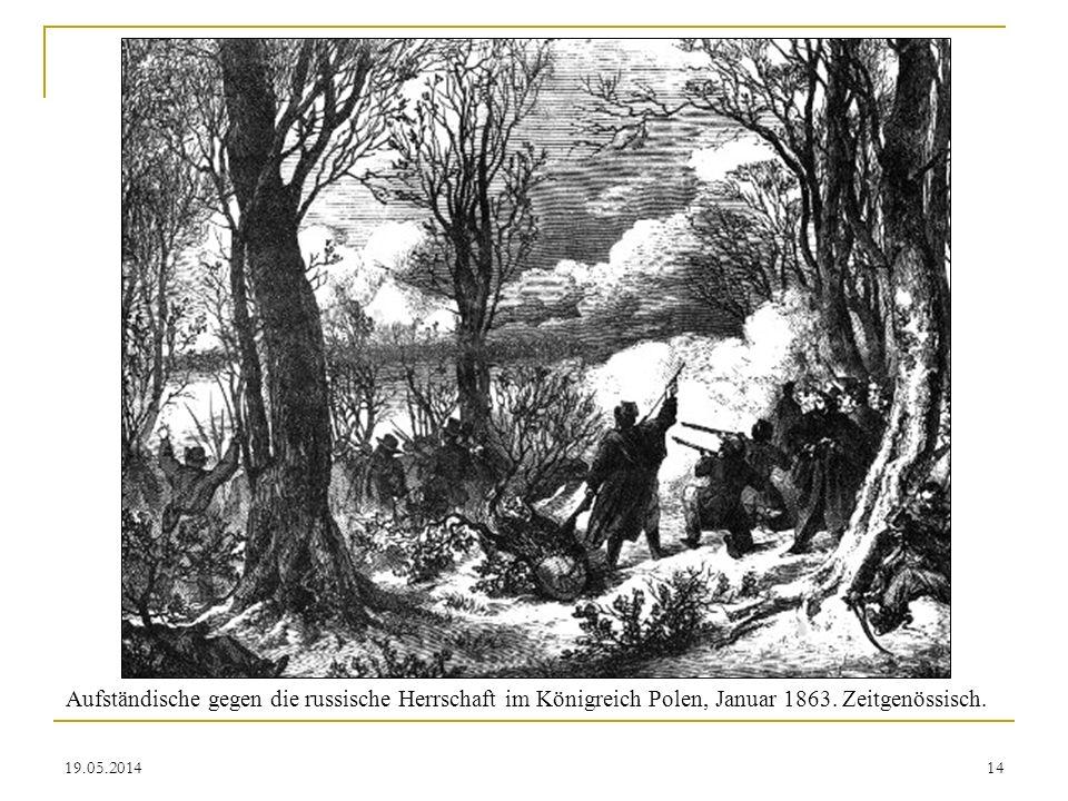 Aufständische gegen die russische Herrschaft im Königreich Polen, Januar 1863. Zeitgenössisch.