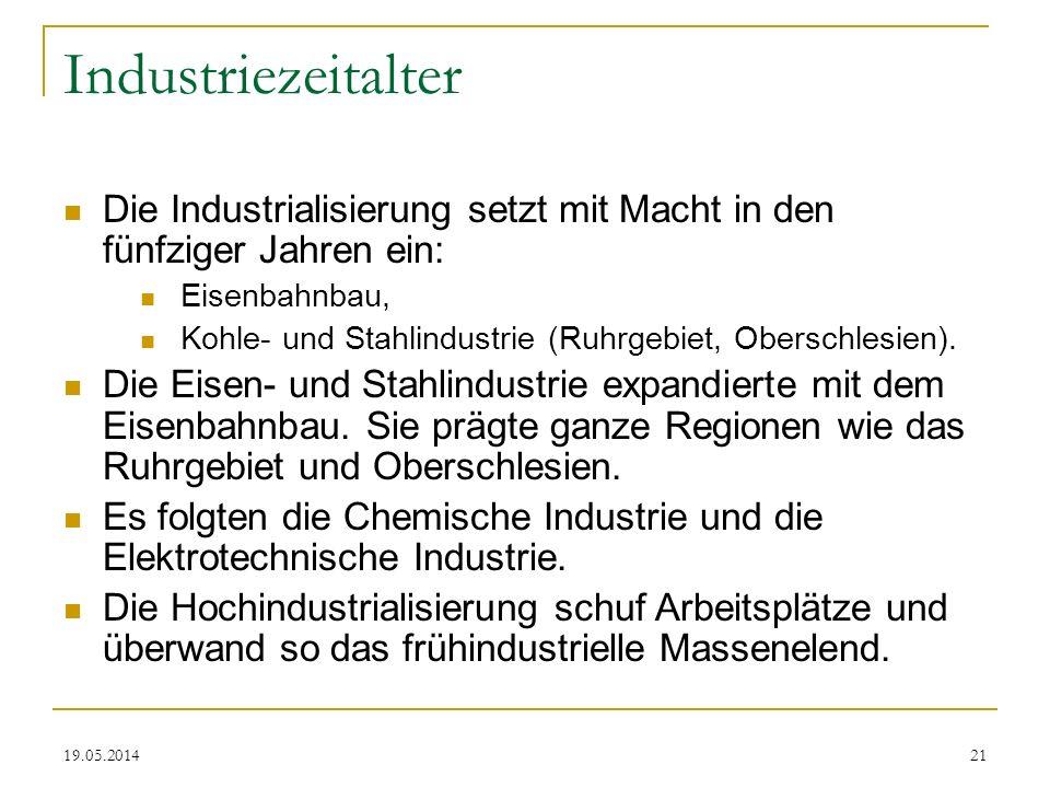 Industriezeitalter Die Industrialisierung setzt mit Macht in den fünfziger Jahren ein: Eisenbahnbau,