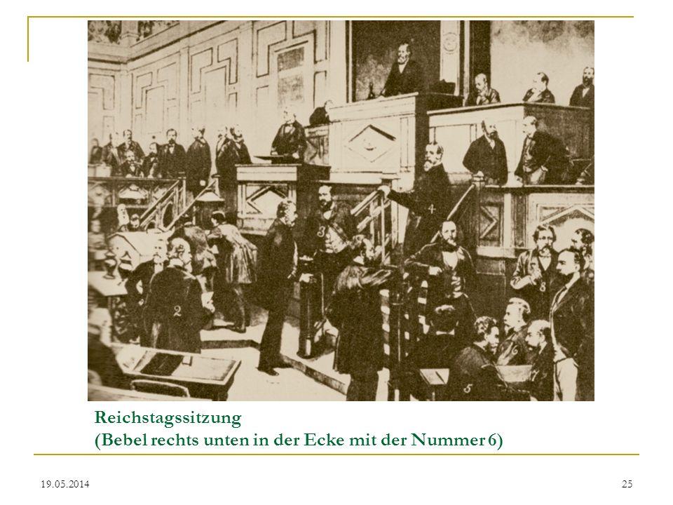 Reichstagssitzung (Bebel rechts unten in der Ecke mit der Nummer 6)