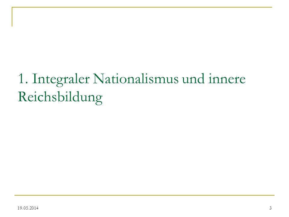 1. Integraler Nationalismus und innere Reichsbildung