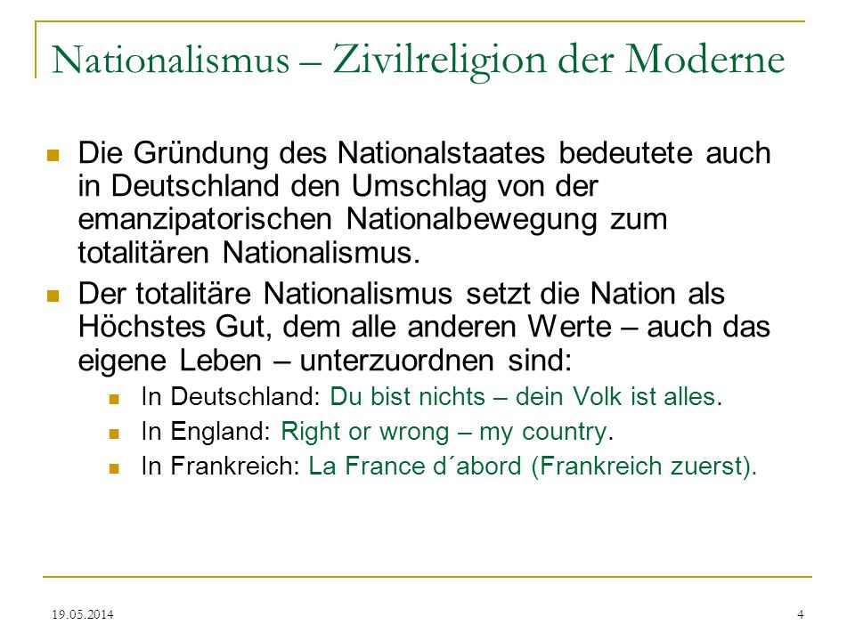 Nationalismus – Zivilreligion der Moderne