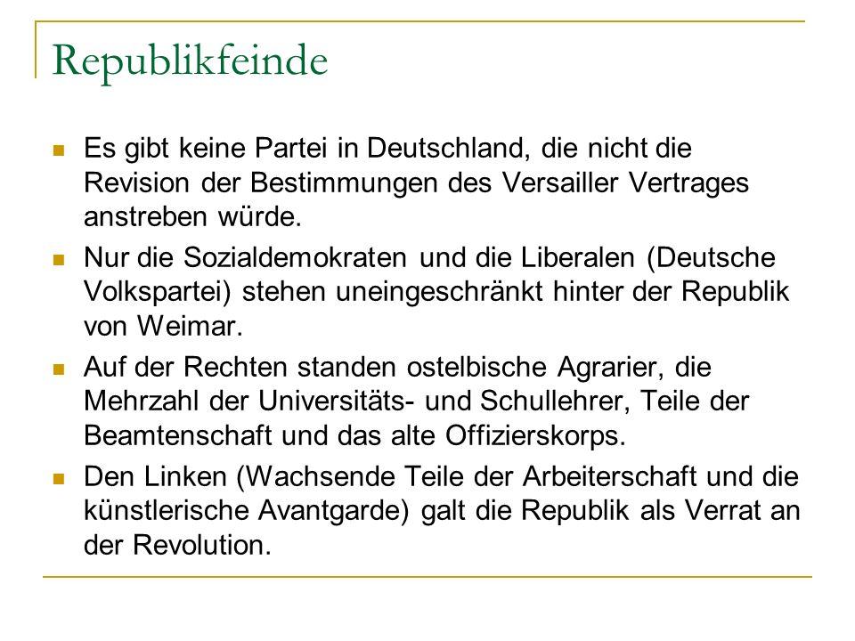 Republikfeinde Es gibt keine Partei in Deutschland, die nicht die Revision der Bestimmungen des Versailler Vertrages anstreben würde.