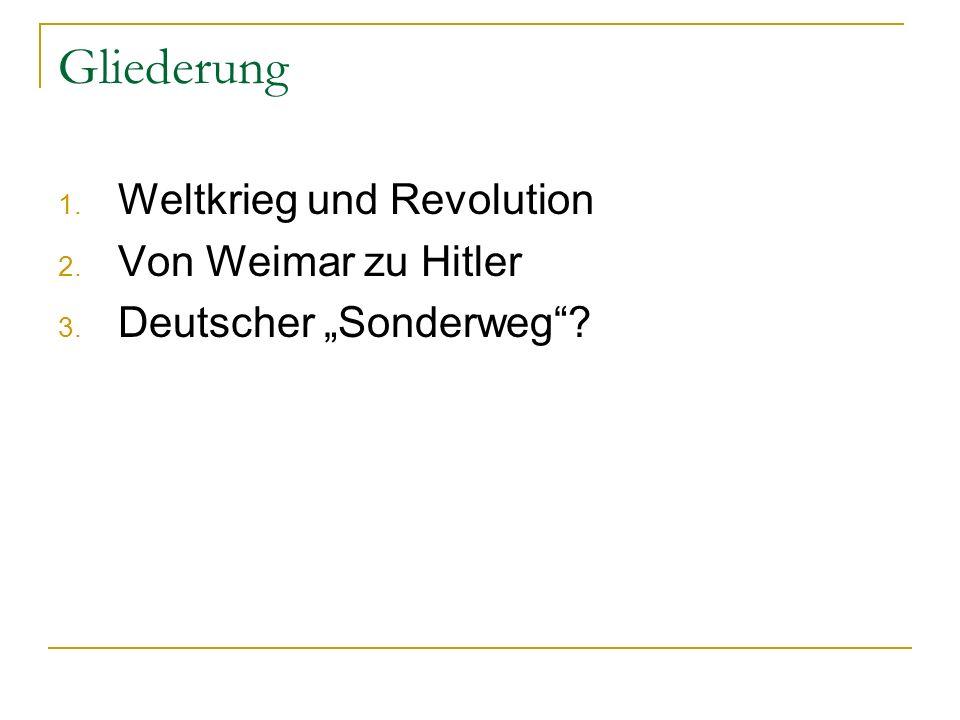 Gliederung Weltkrieg und Revolution Von Weimar zu Hitler
