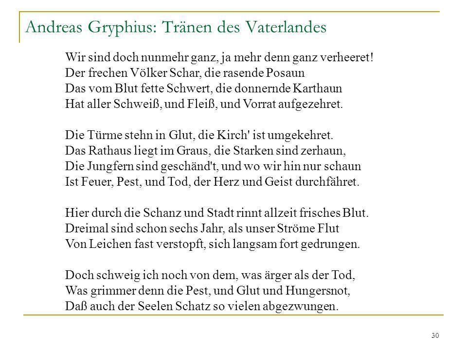 Andreas Gryphius: Tränen des Vaterlandes
