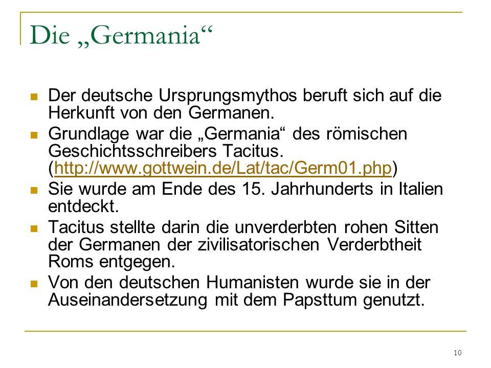 """Die """"Germania Der deutsche Ursprungsmythos beruft sich auf die Herkunft von den Germanen."""