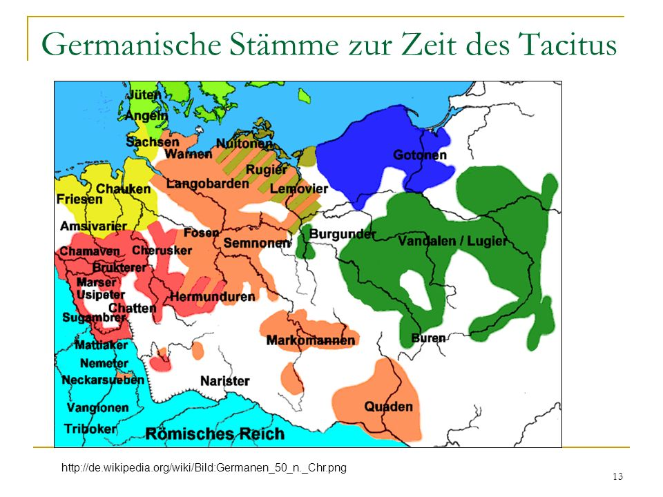 Germanische Stämme zur Zeit des Tacitus