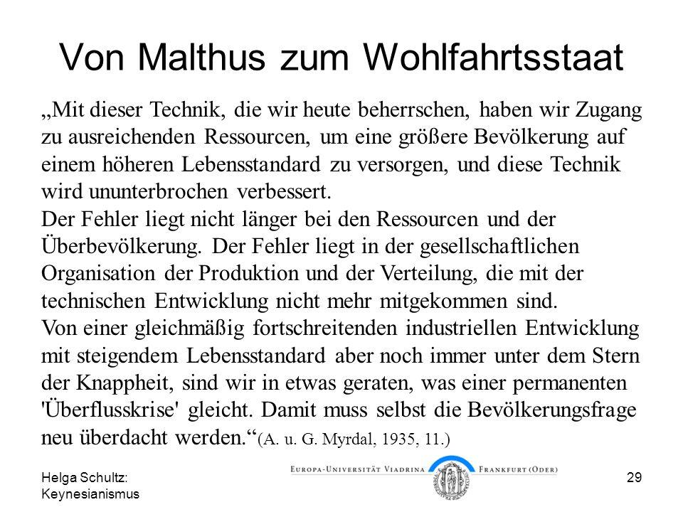 Von Malthus zum Wohlfahrtsstaat