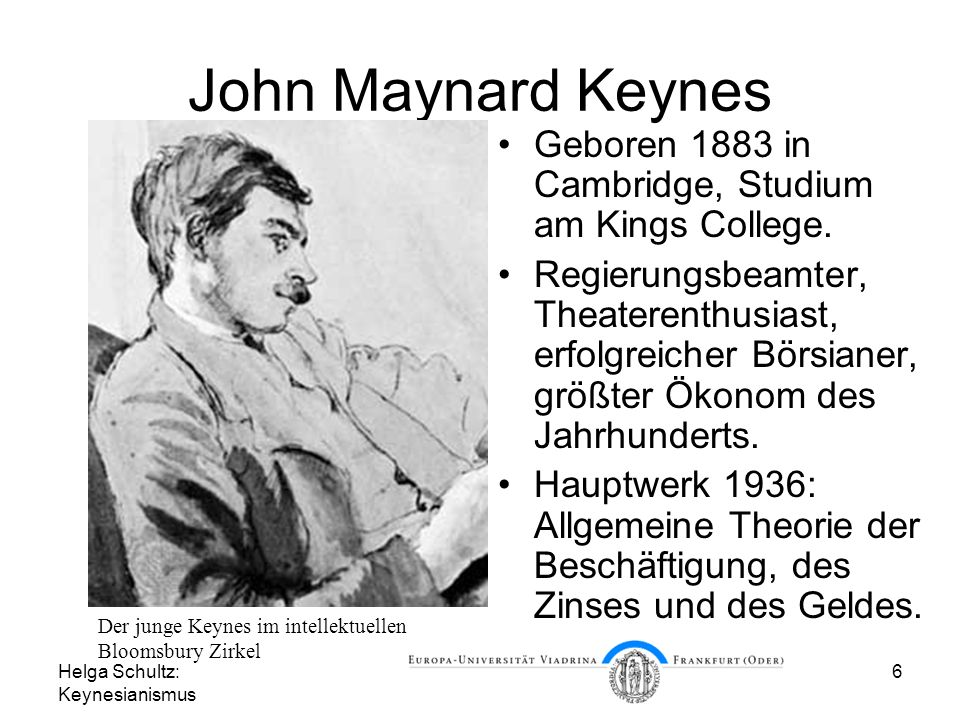 John Maynard Keynes Geboren 1883 in Cambridge, Studium am Kings College.