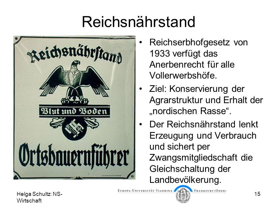 Reichsnährstand Reichserbhofgesetz von 1933 verfügt das Anerbenrecht für alle Vollerwerbshöfe.
