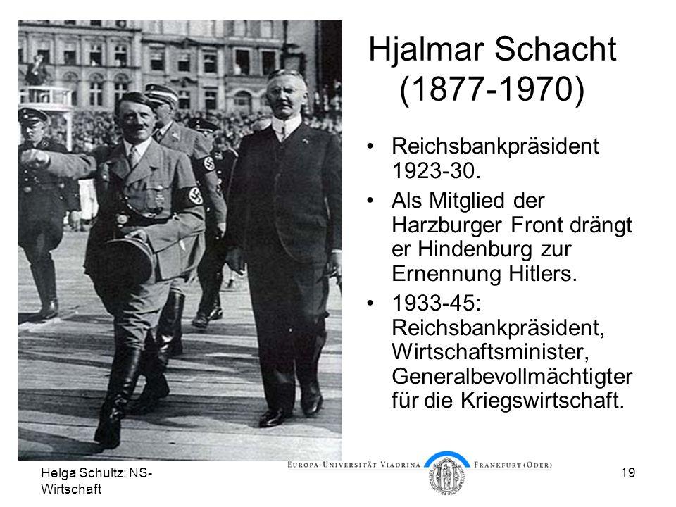 Hjalmar Schacht (1877-1970) Reichsbankpräsident 1923-30.