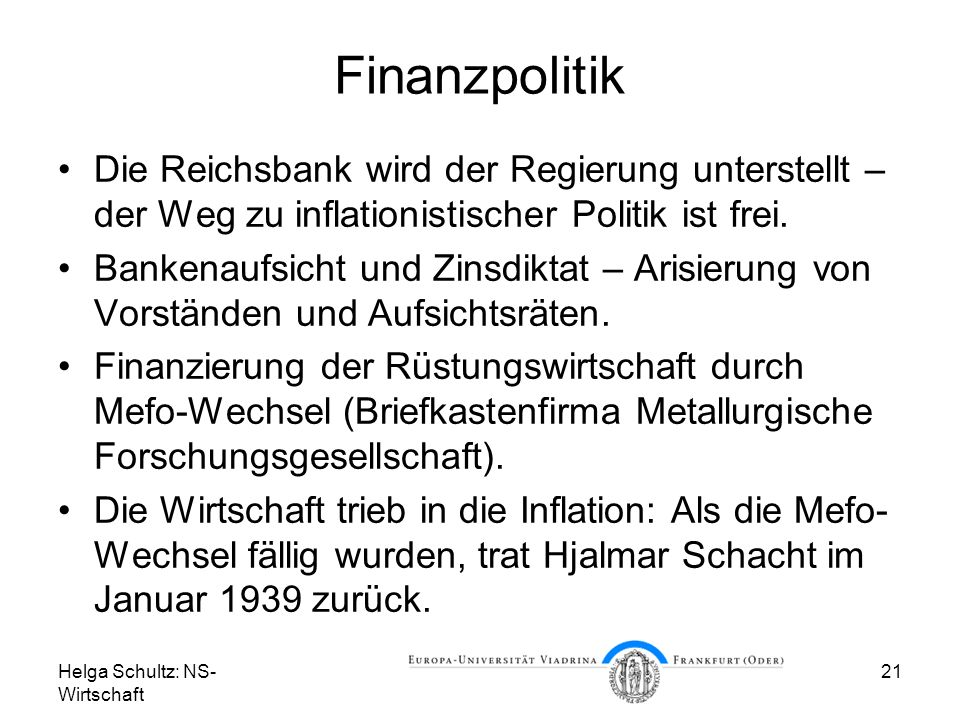 Finanzpolitik Die Reichsbank wird der Regierung unterstellt – der Weg zu inflationistischer Politik ist frei.