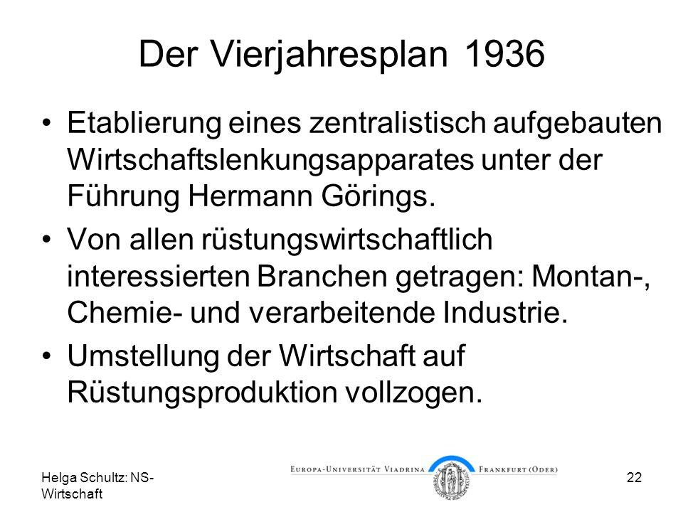 Der Vierjahresplan 1936 Etablierung eines zentralistisch aufgebauten Wirtschaftslenkungsapparates unter der Führung Hermann Görings.