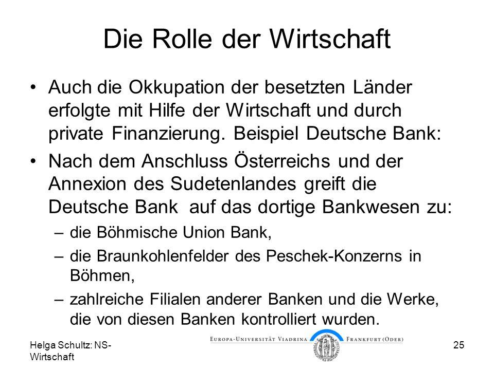 Die Rolle der Wirtschaft