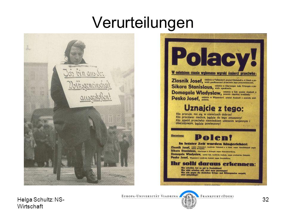 Verurteilungen Helga Schultz: NS-Wirtschaft