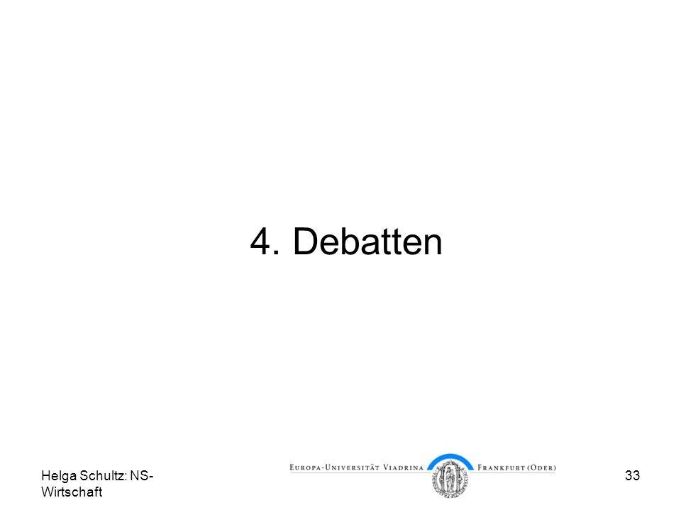 4. Debatten Helga Schultz: NS-Wirtschaft
