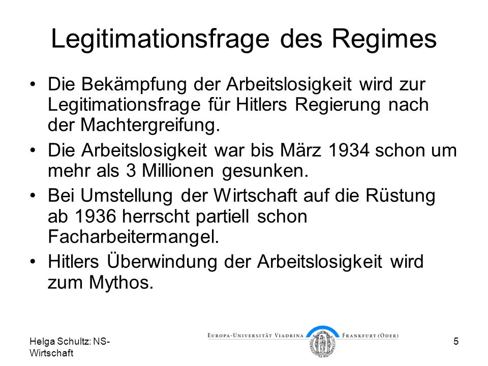 Legitimationsfrage des Regimes