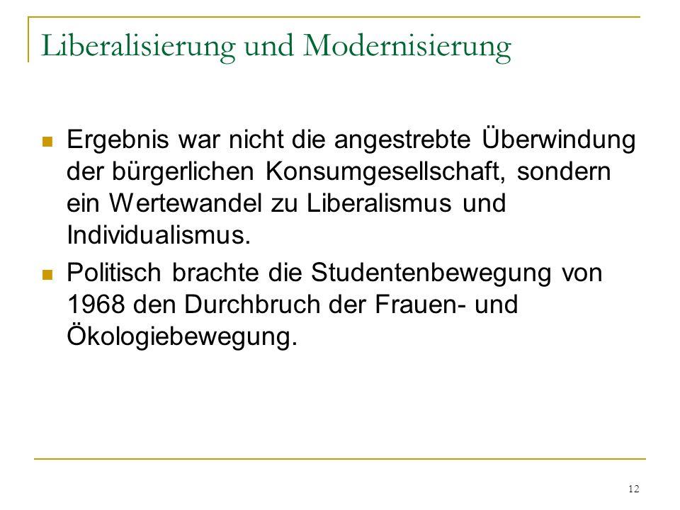 Liberalisierung und Modernisierung