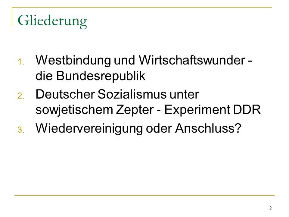 Gliederung Westbindung und Wirtschaftswunder - die Bundesrepublik