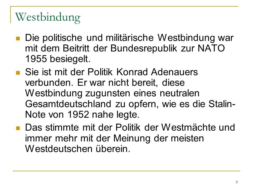 Westbindung Die politische und militärische Westbindung war mit dem Beitritt der Bundesrepublik zur NATO 1955 besiegelt.