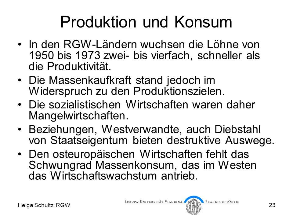 Produktion und Konsum In den RGW-Ländern wuchsen die Löhne von 1950 bis 1973 zwei- bis vierfach, schneller als die Produktivität.