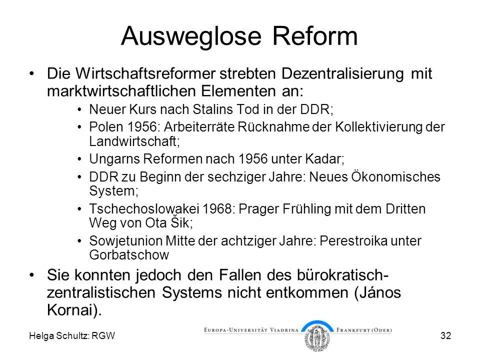 Ausweglose Reform Die Wirtschaftsreformer strebten Dezentralisierung mit marktwirtschaftlichen Elementen an: