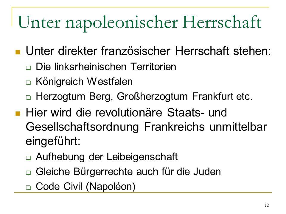 Unter napoleonischer Herrschaft