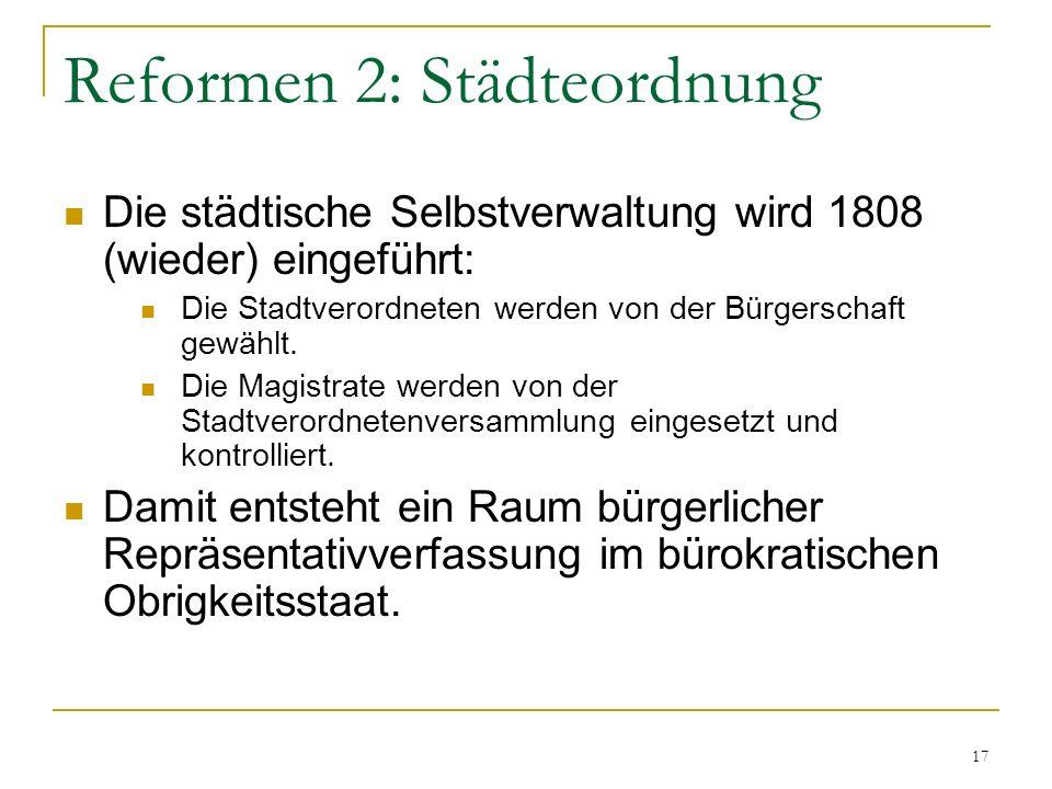 Reformen 2: Städteordnung