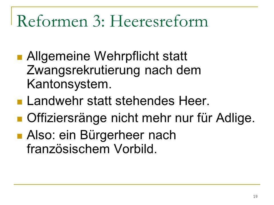 Reformen 3: Heeresreform