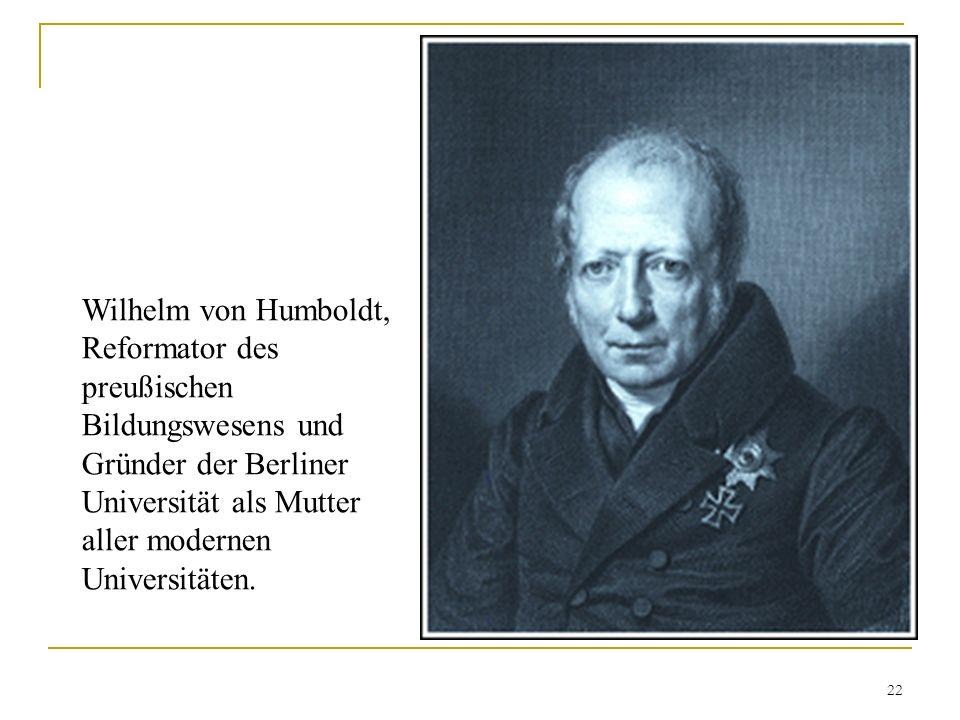 Wilhelm von Humboldt, Reformator des preußischen Bildungswesens und Gründer der Berliner Universität als Mutter aller modernen Universitäten.