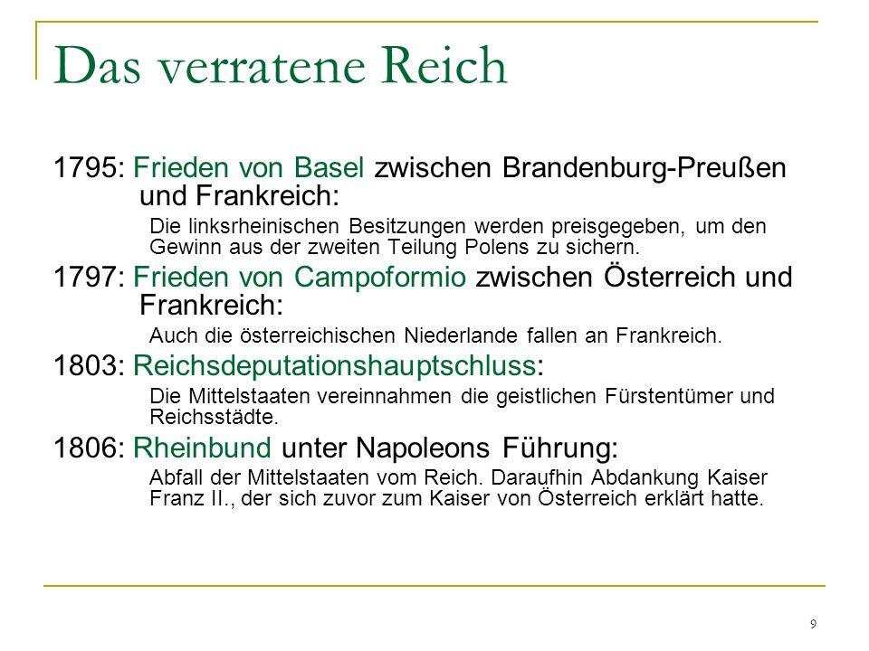 Das verratene Reich 1795: Frieden von Basel zwischen Brandenburg-Preußen und Frankreich: