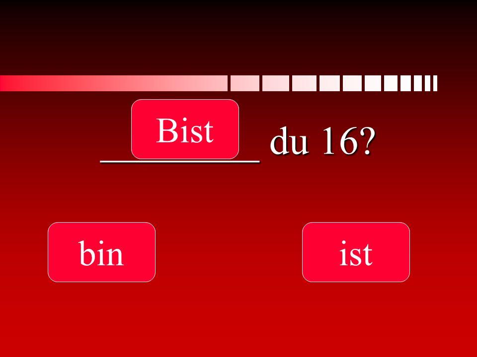Bist ________ du 16 bin ist