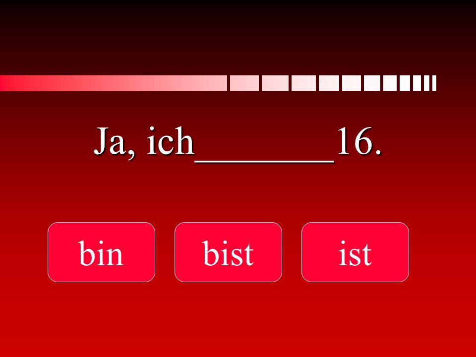 Ja, ich_______16. bin bist ist