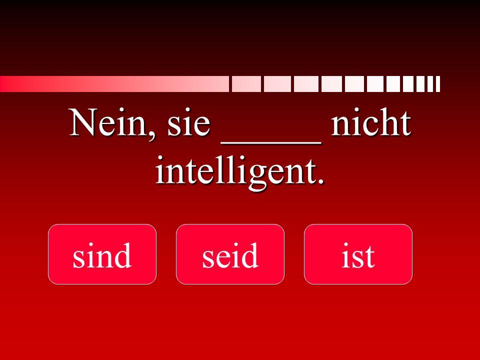 Nein, sie _____ nicht intelligent.