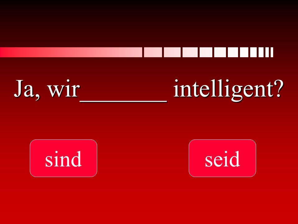 Ja, wir_______ intelligent