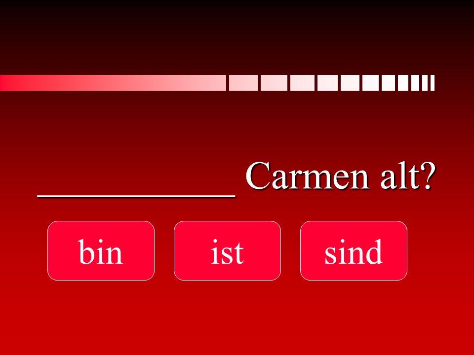 __________ Carmen alt bin ist sind