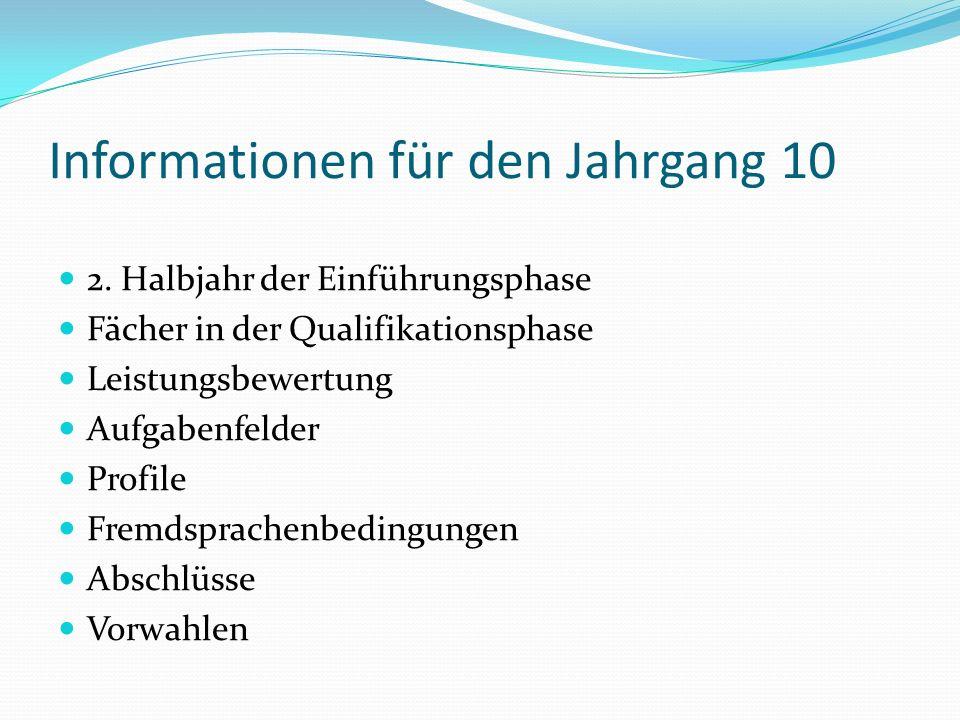 Informationen für den Jahrgang 10