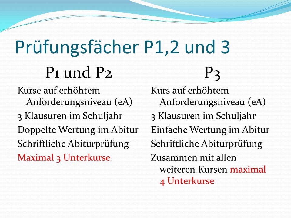 Prüfungsfächer P1,2 und 3 P1 und P2 P3