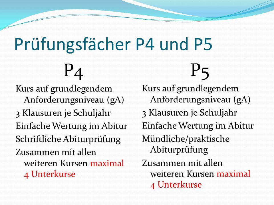 Prüfungsfächer P4 und P5 P4 P5