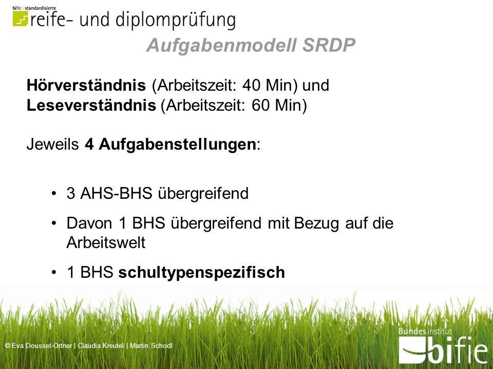 Aufgabenmodell SRDP Hörverständnis (Arbeitszeit: 40 Min) und