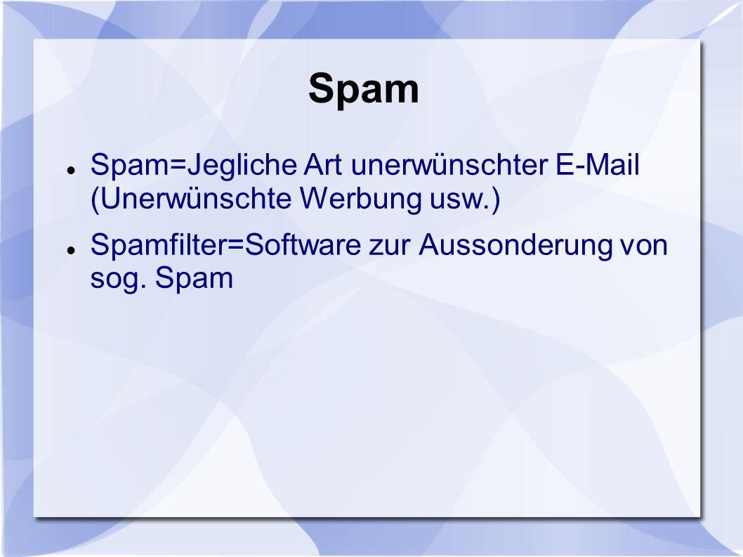 Spam Spam=Jegliche Art unerwünschter E-Mail (Unerwünschte Werbung usw.) Spamfilter=Software zur Aussonderung von sog.