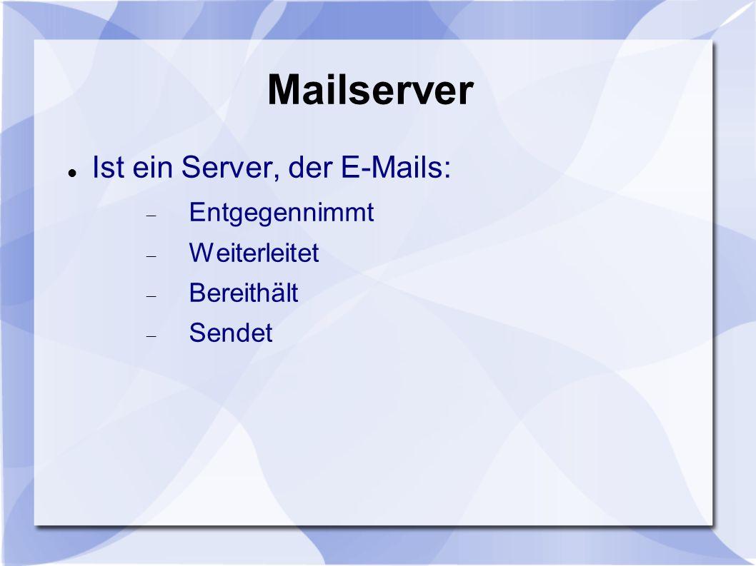 Mailserver Ist ein Server, der E-Mails: Entgegennimmt Weiterleitet