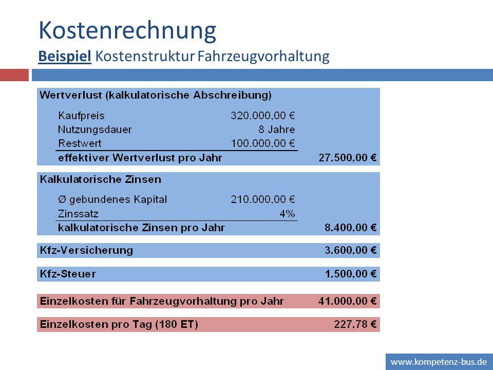 Kostenrechnung Beispiel Kostenstruktur Fahrzeugvorhaltung