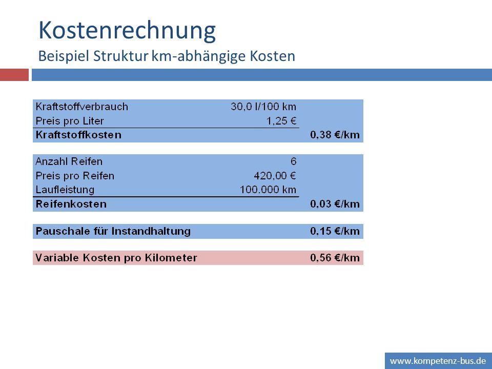 Kostenrechnung Beispiel Struktur km-abhängige Kosten