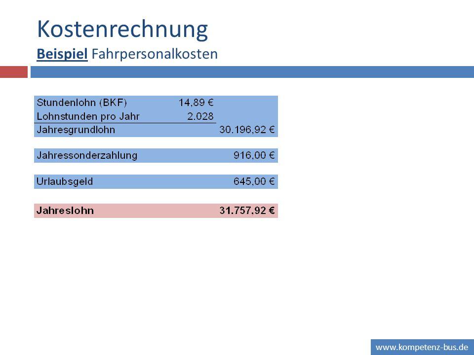 Kostenrechnung Beispiel Fahrpersonalkosten