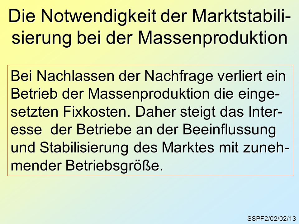 Die Notwendigkeit der Marktstabili- sierung bei der Massenproduktion