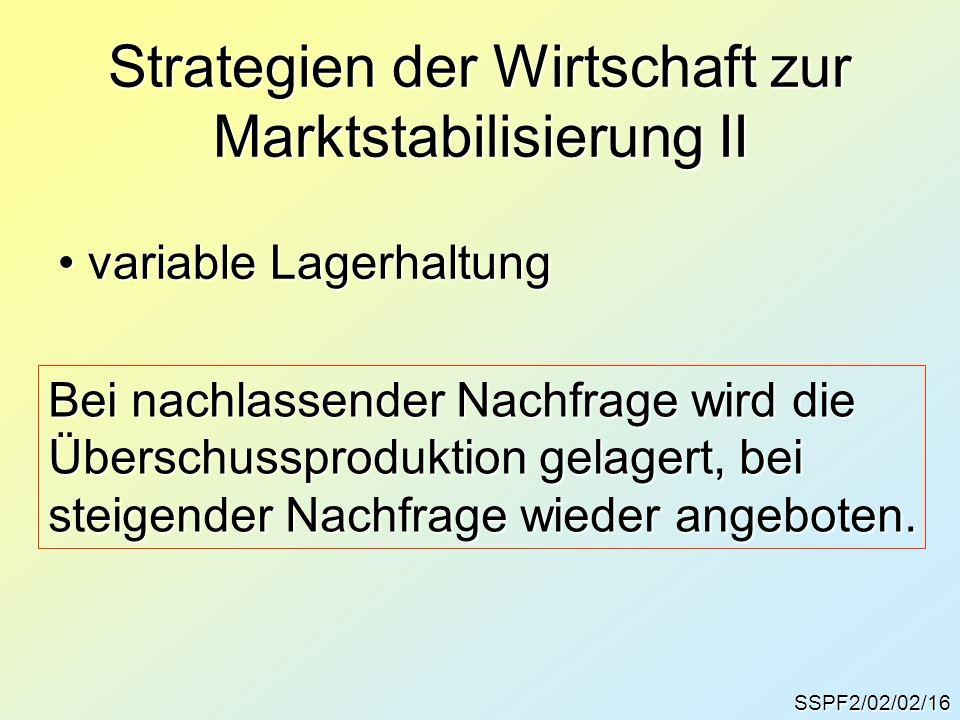 Strategien der Wirtschaft zur Marktstabilisierung II