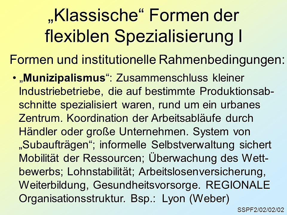 """""""Klassische Formen der flexiblen Spezialisierung I"""