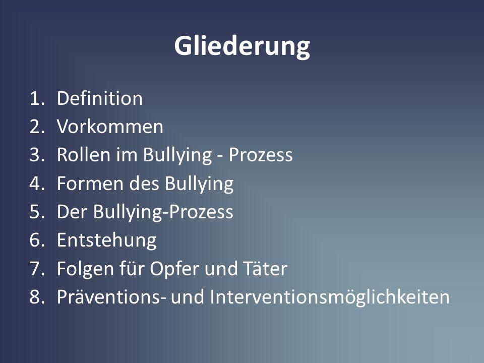 Gliederung Definition Vorkommen Rollen im Bullying - Prozess