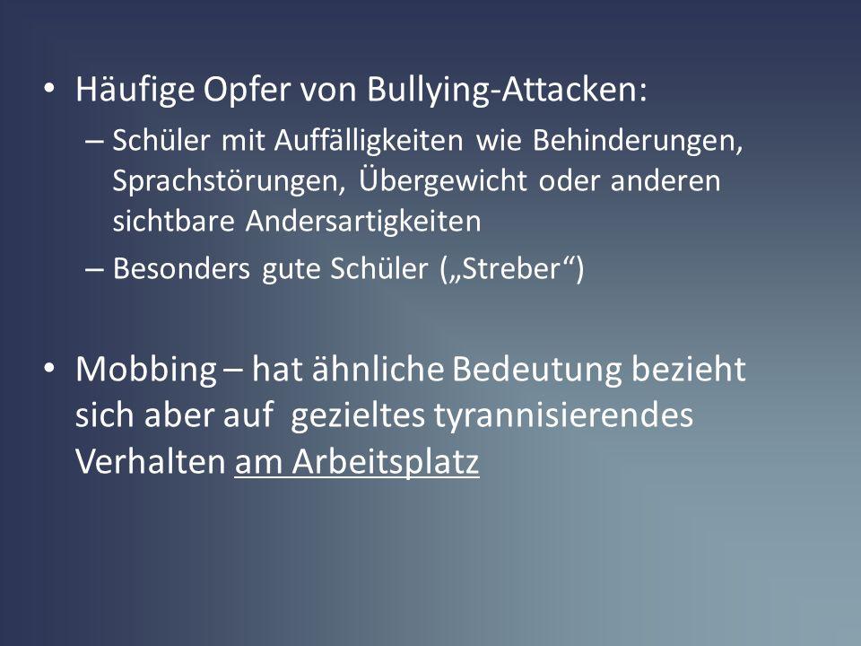 Häufige Opfer von Bullying-Attacken: