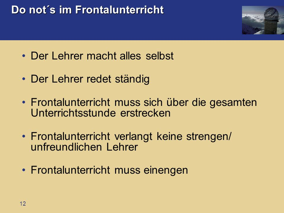 Do not´s im Frontalunterricht